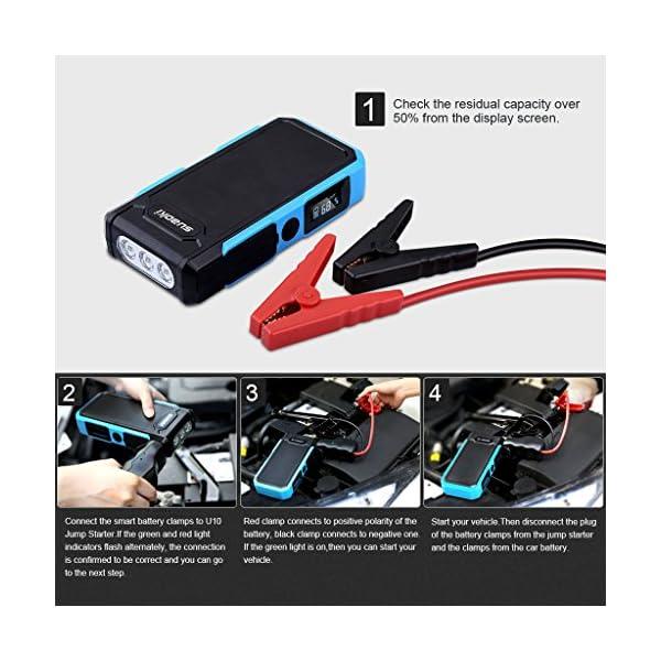 Suaoki U10 – Jump Starter de 20000mAh, 800A Batería Arrancador de Coche (Batería Externa Recargable, LED Flashlight, Multifunción, Con pinzas inteligentes) (Azul)