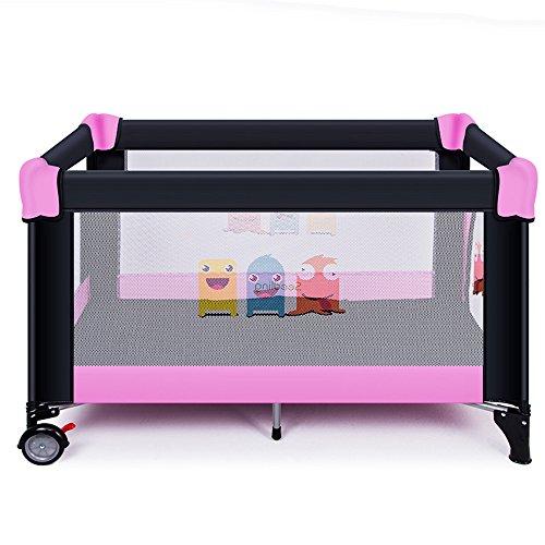 Brisk- Spielbett Zusammenklappbar Multifunktion Reisebett Kinderbett Kleinkind Spiel Bett Zaunbett Tragbar Krippe ( Farbe : Pink-b )