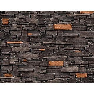 Fototapete Steinwand 3D Effekt Braun 396 X 280 Cm Vlies Wand Tapete  Wohnzimmer Schlafzimmer Büro Flur