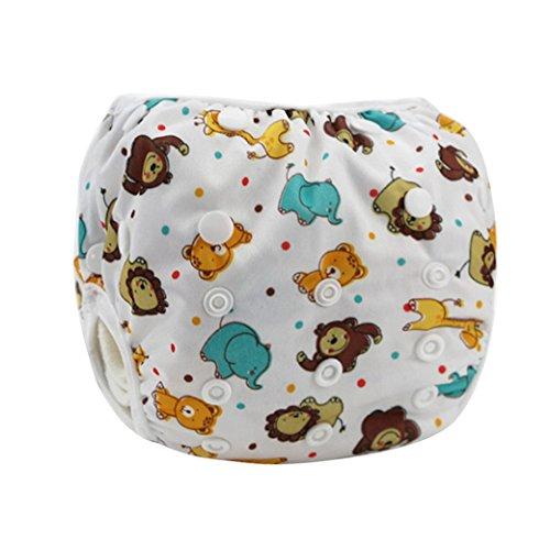 HAPPY CHERRY Babywindeln Waschbare Baby Schwimmwindel Windel Hose Elefant Löwe Drucken Baby-Tuch Windeln Stoffwindeln Größe Verstellbar Cartoon Pattern - Weiß
