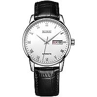 BUREI lujo Automático Mens Reloj elegante día fecha mecánica reloj de pulsera en números romanos con correa de cuero negro resistente al agua 50m de BUREI
