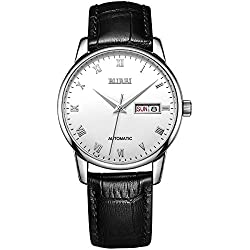 BUREI Montre automatique élégante pour hommes Calendrier Jour et Date Montre-bracelet mécanique avec chiffres romains Bracelet en cuir noir Imperméable à l'eau 50M