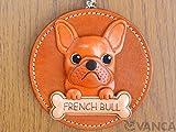 Französische Bulldogge Hundehalsband Echt Leder Animal/Wanddekoration * Vanca * handgefertigt in Japan