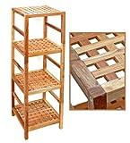 Regal Standregal Hochregal 117 cm aus Walnuss Massivholz für Bad, Wohnzimmer, Sauna, Flur, Diele, Küche, Büro und Kinderzimmer