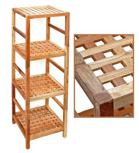Regal Standregal Hochregal 117 cm aus Walnuss Massivholz für Bad, Wohnzimmer, Sauna, Flur, Diele, Küche, Büro und Kinderzimmer - Qualität Walnuss