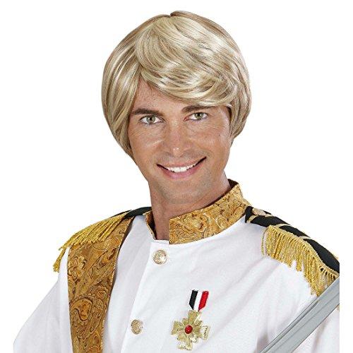 Amakando Herren Kurzhaarperücke Prinzen Faschingsperücke blond Märchen Herrenperücke Prinz Perücke Karneval Kostüm Zubehör Männer Seitenscheitel Karnevalsperücke Beachboy Surfer Haare