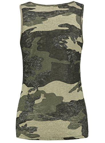 Key Largo Damen T-Shirt WT Top Heidi Camouflage Look Kurzarm Sommershirt Khaki