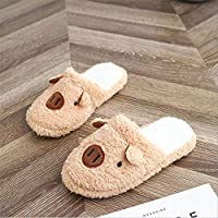 WARRT Cotton Slippers Winter Indoor Women Slippers Warm Slipper Flat Shoes Soft Home Slippers Woman Snowflake 39 Pig Brown