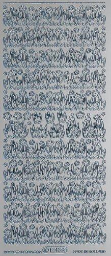 Unbekannt Starform Peel Off Motiv-Sticker 1243 silber Gras und Blumen -