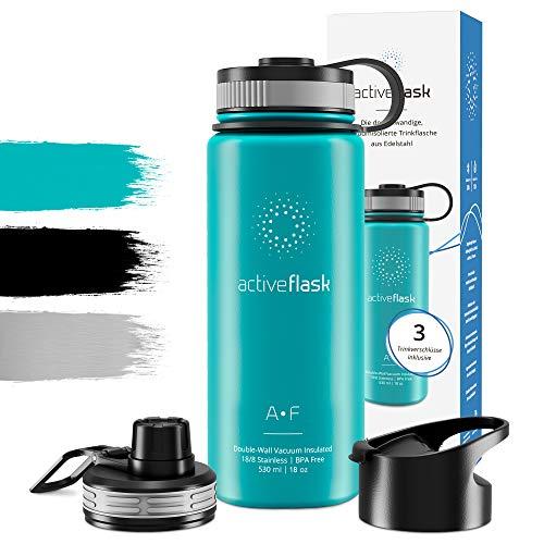Trinkflasche Edelstahl 1l 530ml ACTIVE FLASK + 3 Trinkverschlüsse - BPA frei, Auslaufsicher, Kohlensäure geeignet - Wasserflasche Thermosflasche Thermo Isolierflasche Sport Wasser Flasche Kinder Tee