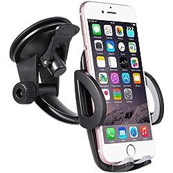 Support Téléphone Voiture Ventouse Automobile Universel Rotation 360° Support Smartphone Pare-brise Réglable Tableau de bord GPS Compatible avec les phones en largeur de 48mm-95mm(1.9-3.7 pouces)