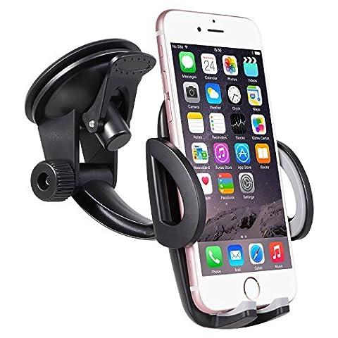 Support Téléphone Voiture Ventouse Automobile - SURWELL Support Téléphone Universel Rotation à 360° Support Smartphone Voiture Support iPhone Voiture Pare-brise Réglable Tableau de bord GPS Compatible avec les phones en largeur de 48mm-95mm (1.9-3.7