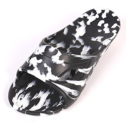 Schlupfhalsband Hausschuhe rutschfeste Dusche Sandalen Beach Mule EVA-Sohle Pool Schuhe Badezimmer Slide für Erwachsene Schwarz