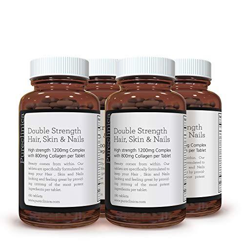 Doppelte Stärke Haar, Haut & Nägel x 720 Tabletten - 10 x aktive Bestandteile - 1200 mg pro Tablette - (2 Jahre Versorgung) SKU: HSN3x4
