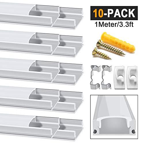 Chesbung LED Aluminium Profil 1m, 10er Pack in U-Form für LED-Strips/Band bis 12 mm) inkl. Abdeckungen in milchig-weiß, Endkappen, und Montagematerial - Led-aluminium-montage-kanal