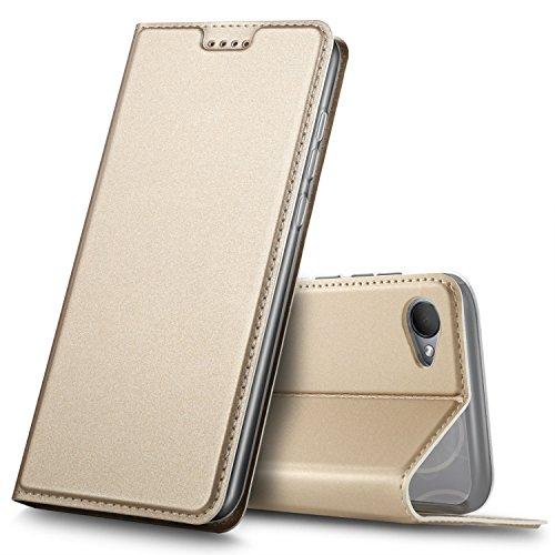 GeeMai HTC Desire 12 Hülle, Premium Flip Case Tasche Cover Hüllen mit Magnetverschluss [Standfunktion] Schutzhülle Handyhülle für HTC Desire 12 Smartphone, Gold