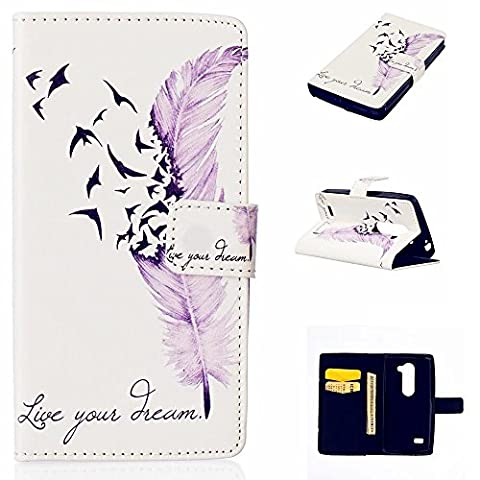 KSHOP Protective Case for LG Leon H340N /H345 / C40 / C50 Cover PU Leather Wallet Briefcase Case Cover Book-style Cell Phone Case Bags Card Slots Case with Stand Function Shell Scratch Resistant Shockproof Magnetic Closes Printing Pattern Purple Pen Destruction + Pencil Touch Black