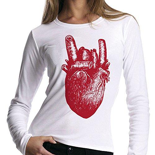 t-shirt manica lunga nera Cuore Rock - S M L XL XXL uomo donna bambino maglietta by tshirteria bianca
