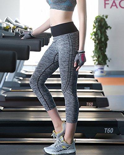 Femmes Pantalon de Sport - Gris Legging Fitness Yoga Stretch Pantalon Court Noir Gris