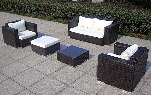 Baidani Gartenmöbel-Sets 10c00042.00002 Designer Rattan Lounge-Garnitur Calypso, 1 2-er-Sofa, 2 Sessel, 1 Hocker, 1 Couch-Tisch mit Glasplatte, braun - 4