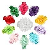 Westeng Lot de 11 Bébé Bandeau Serre-tête Tissu Bandeau Cheveux Tricot avec Décoration de Fleur