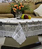 #7: Kuber Industries PVC 3D Flower Design Waterproof Center Table Cover 4 Seater (40*60 inches) Silver Lace