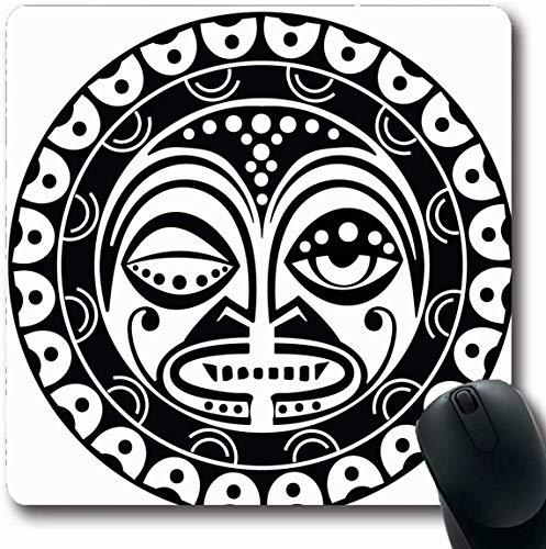 Mousepad Längliche Blutdurst-Tätowierung Tiki Humanlike Abbildung, die heilige polynesische Maori- Maske darstellt Sun-Totem-Aloha-Büro-Computer-Laptop-Notizbuch-Mausunterlage, rutschfestes Gummi