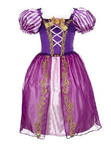 LCXYYY Mädchen Grimms Prinzessin Rapunzel Kostüm Karneval Verkleidung Party Kleid Cosplay Hochzeit Blumenmädchenkleider Faschingskostüm Festkleid Weinachten Halloween Fest Lila