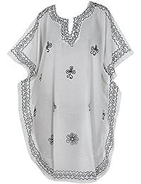 *La Leela*** Mujeres Seda Artificial Vestido de la Noche Kaftan Bordadas Cubren