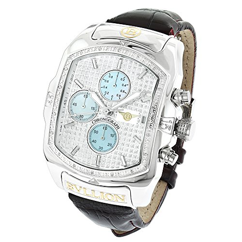 Large Bubble Watches: Luxurman Bullion Diamond Watch For Men w Chronograph and Leather Band 0.18ct