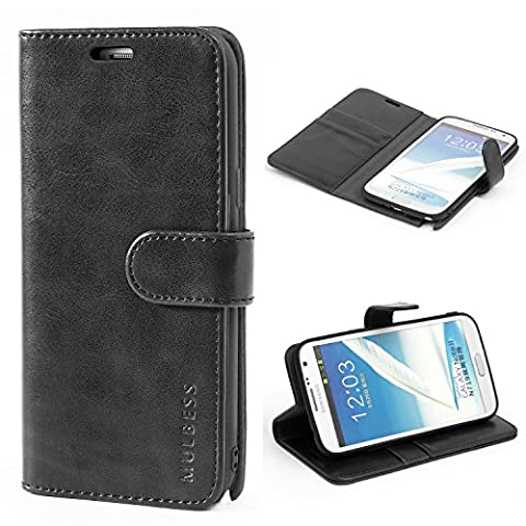 Mulbess Ledertasche im Ständer Book Case / Kartenfach für Samsung Galaxy Note 2 Tasche Hülle Leder Etui,Schwarz
