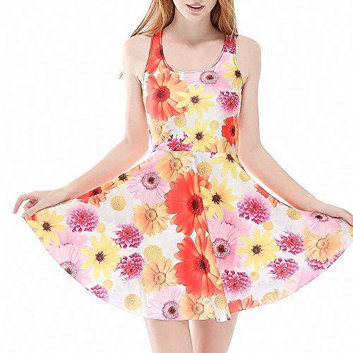 FeiXing158 3 Frauen rote Blumen grüne Blätter Sommer Skate Kleid Kleid grau gelb Sonnenblumenmuster Faltenkleid über den Knien S bis 4XL (Mickey Mouse-mini-cutter)