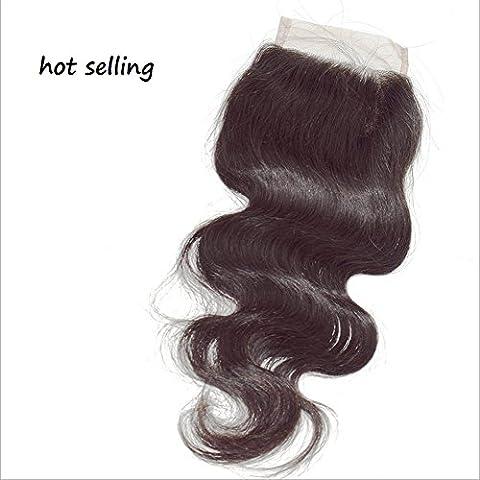 Meydlee AccessoriPosticci Hot pizzo capelli chiusura 100% umano capelli accessorio naturale colore nero 8-22 pollici, 100g/pc , 22 inch