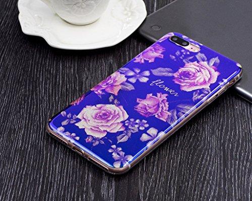 Für iPhone 7 Plus Hülle,iPhone 7 Plus (5,5 Zoll) Silikon Hülle,Mo-Beauty® Klare Ultradünne Silikon Gel Schutzhülle Durchsichtig,Bunte Blumen Malerei Painted Muster Transparent TPU Sillikon Weich Ultra D