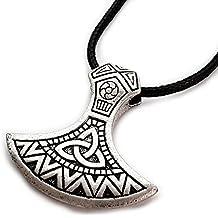 Miss–E–Jewels TM argento antico ornato Mammen ascia ciondolo collana da donna da uomo Viking Norse Sekira amuleto Nordic Thor Rune Slavi Pegan celtica