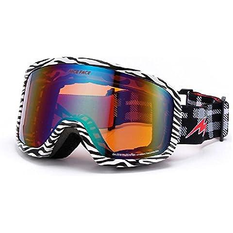 Double anti nebbia UVGoggles Sci & Snowboard occhiali, sostituibile miopia lente,GHTAT#611