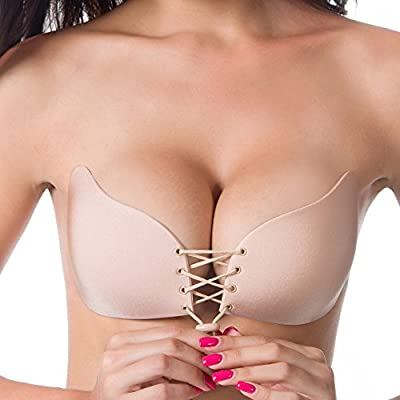 Women's Silicone Strapless Backless Push Up Self Adhesive with Drawstrings bra