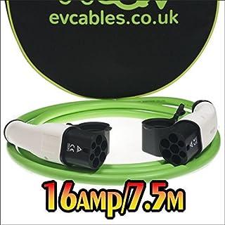 EV Cables Premium Ladekabel mit Bonus Tragetasche 3 Phase Typ 2 bis Typ 2-16 amp | 7.5 meter | 11kW - Green