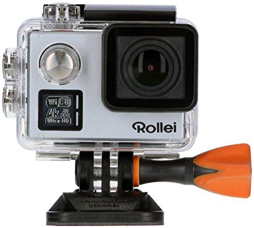 Rollei Actioncam 530 WiFi Action Cam (mit 4k Video Auflösung, Weitwinkelobjektiv, Bildstabilisierung, bis 40 m wasserfest, inkl. Unterwasserschutzgehäuse und Fernbedienung) silber -
