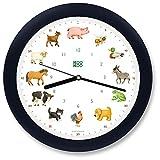 KOOKOO KidsWorld Negro-Azul, Reloj de Pared Genuino, Sonidos de Animales Naturales, 12 Animales de la Ganja, Ilustraciones Monika Neubacher-Fesser, Sensor de luz