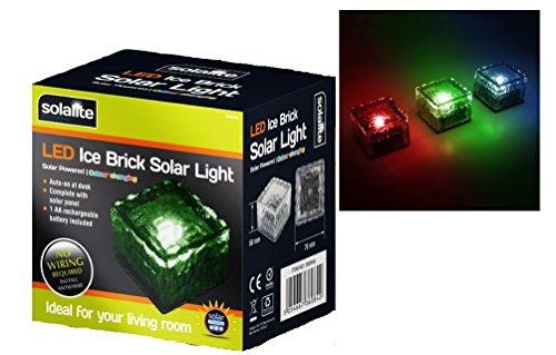 1x solaite Solar LED Eis Rocks Cube Glas Brick Garten Wegebeleuchtung (Garten-rock-grenze)