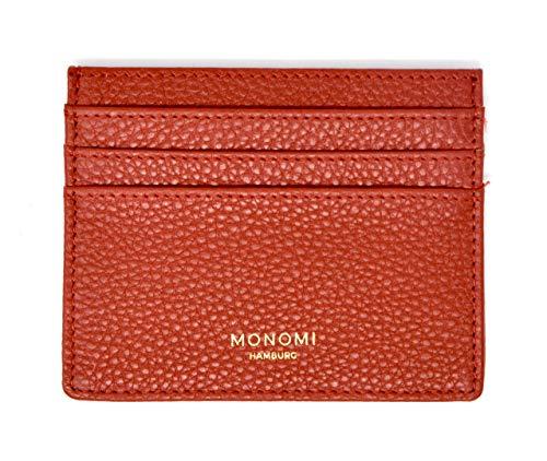 MONOMI Kartenetui aus Leder Kreditkartenetui Visitenkartenetui Portemonnaie Geldbörse RFID-Schutz 7 Fächer Damen Herren Slim Design (Rot)