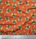 Soimoi Orange Moos Georgette Stoff Plumeria & Ananas Obst