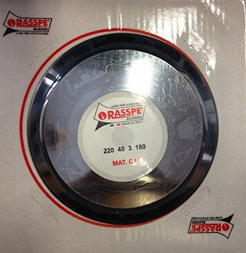 RASSPE Lama per affettatrice 220 mm diametro foro centrale 40 mm - 3 fori fissaggio lama - diametro coprilama 180 mm. Materiale C45 Made in Italy