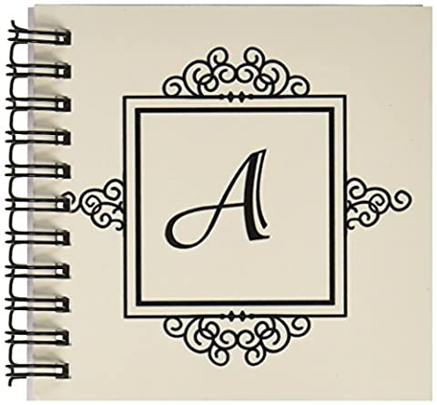 3dRose db_154324_3 Initial Letter A Personal Monogrammed Fancy Black & White Typography Elegant Stylish Personalized Mini Notepad, 4 by 4