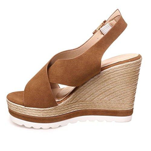 La Modeuse - Sandales en simili-cuirà talons compensées Camel
