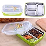 LWVAX New 3 Compartment Stainless Steel Lunch Box with Compartment/Kids Meal Box/Leakproof Bento