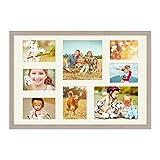 PHOTOLINI Fotocollage-Bilderrahmen 40x60 cm Modern Sonoma Eiche Hell Collagerahmen Bildergalerie-Rahmen für 8 Bilder Wechselrahmen mit Passepartout