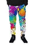 chicolife Herren Damen bunt Malen 3D Gedruckte Jogger Hose Casual Sports Gym Grafik Jogginghose mit Tunnelzug Taschen XX-Large