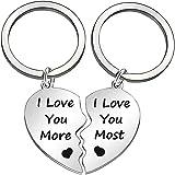 """Set di 2 puzzle portachiavi con scritta """"I Love You More and I Love You Most"""" in coordinato a forma di cuore, coppia di innam"""